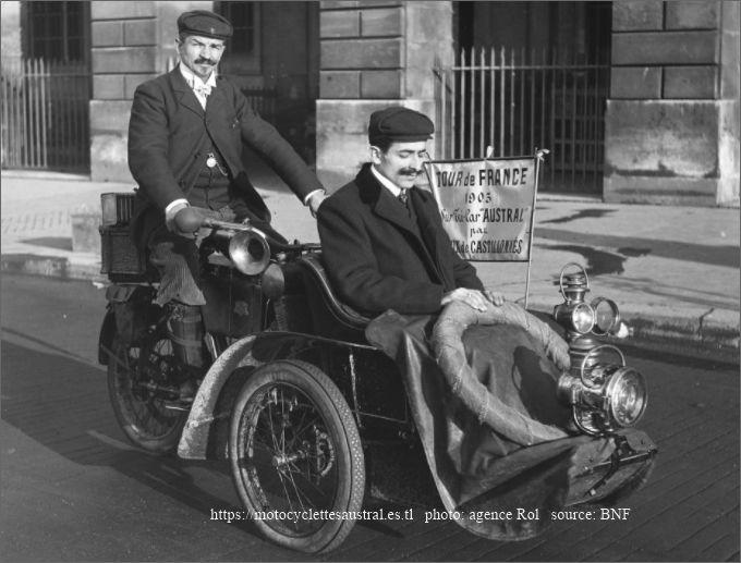 Joyeux au départ pour le Tour de France en Tricar Austral, novembre 1905
