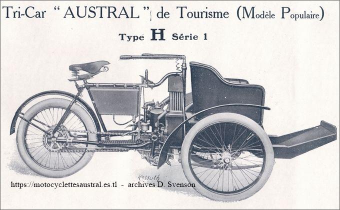 Austral tricar type H, série 1, avec baquette de passager. 1907