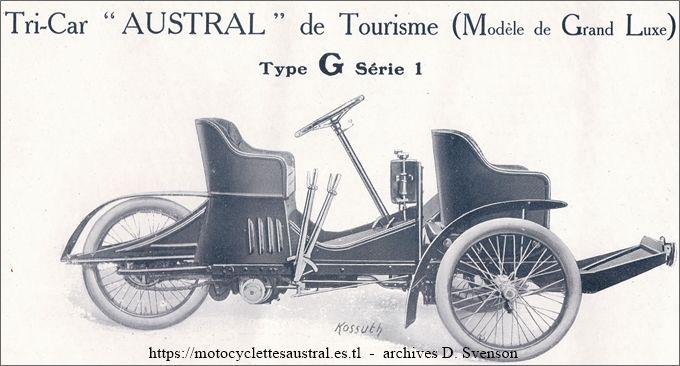 Austral Tricar type G, série 1, 1907, Tourisme Grand Luxe