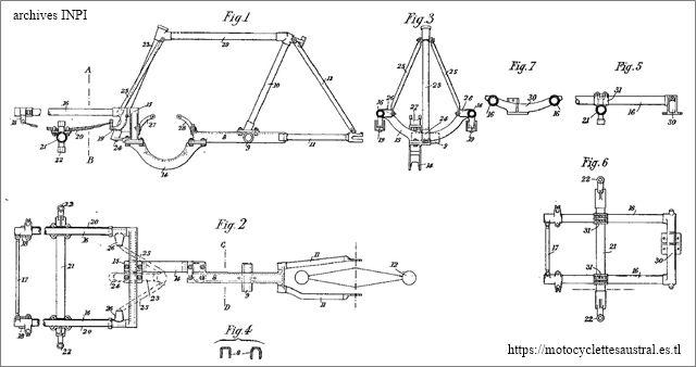 dessin châssis - cadre brevet Austral tricar type A
