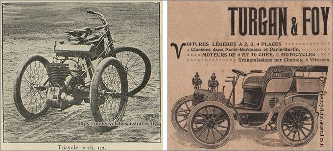 Turgan et Foy, tricycle à moteur, enviro 1899 et voiture