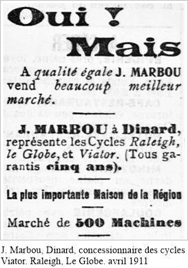 J. Marbou, Dinard, concessionnaire des cycles Viator
