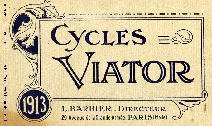 buvard cycles Viator, année 1913. Directeur L. Barbier