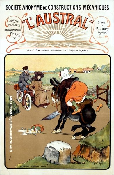 Walter Thor affiche Austral, représentant une paysanne chevauchant un âne ainsi qu'un tricar Austral