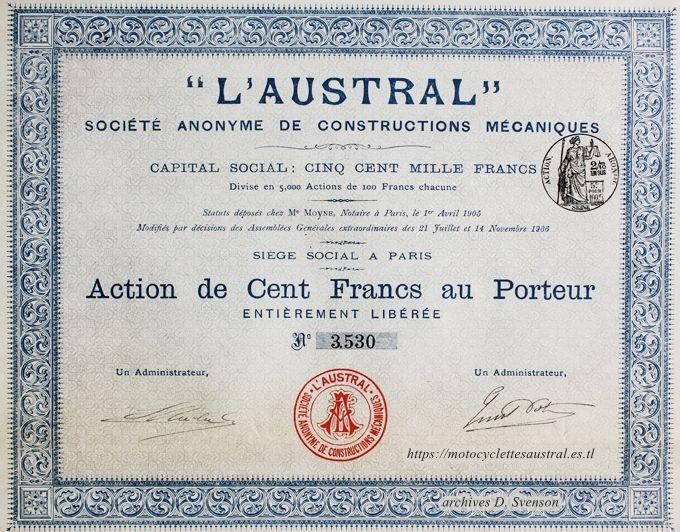 Action de la Société anonyme de constructions mécaniques L' Austral 1906