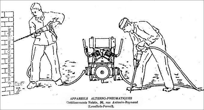 Deux ouvriers du bâtiment avec appareils alterno-pneumatique, Ets. Voisin.