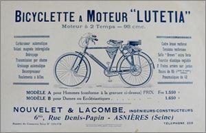 """Catalogue """"Bicyclette à moteur Lutétia, moteur 2 temps 98 cmc"""""""