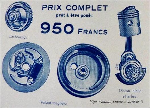 moteur auxiliaire Lutetia: embrayage, piston-bielle et arbre, volant-magnéto