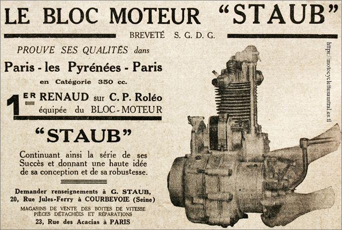 publicité pour le bloc-moteur Staub