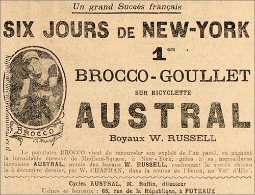 Six Jours de New York, Brocco sur vélo Austral. Publicité de 1921