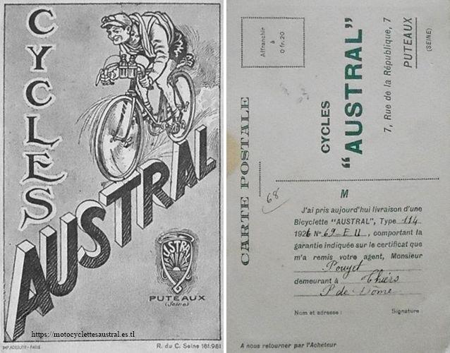 certificat de livraison Austral, dessin Puyplat