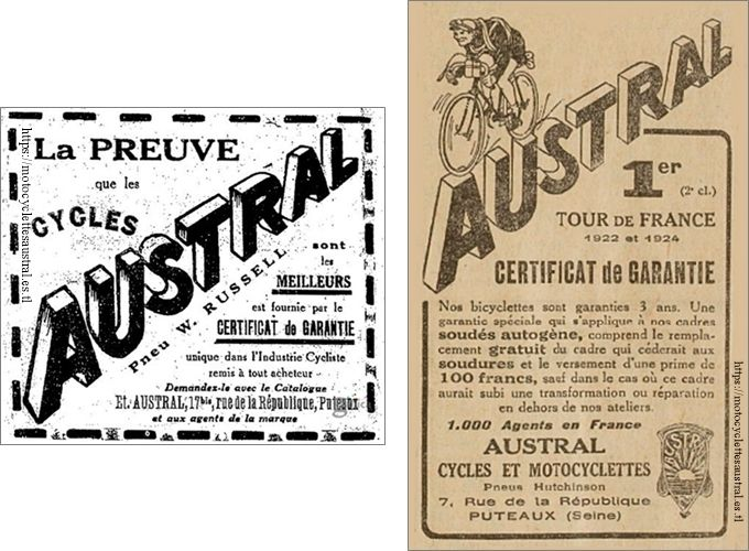 1924 publicité cycles Austral 1924 et 1926 avec mention des certificats de garantie