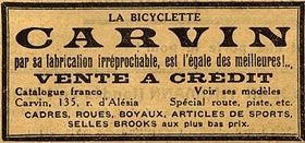 publicité 1926 Cycles Carvin, 135, rue d'Alésia. Paris