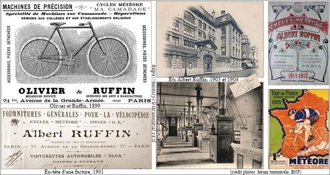 Albert Ruffin, cycles Météore. Collage de plusieurs images avec les ateliers, la publicité et un catalogue