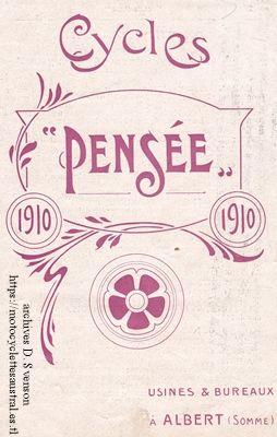 catalogue des cycles Pensée, 1910, usine à Albert