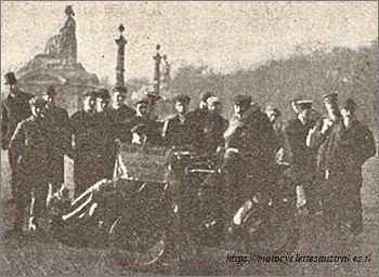 Joyeux départ pour le Tour de France en Tricar Austral, novembre 1905