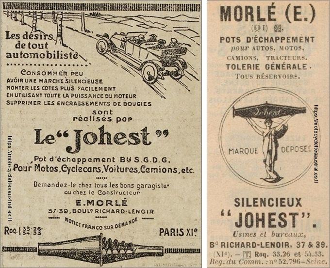 réclames des années 1920 pour les échappements Johest, construits par E. Morlé à Paris.