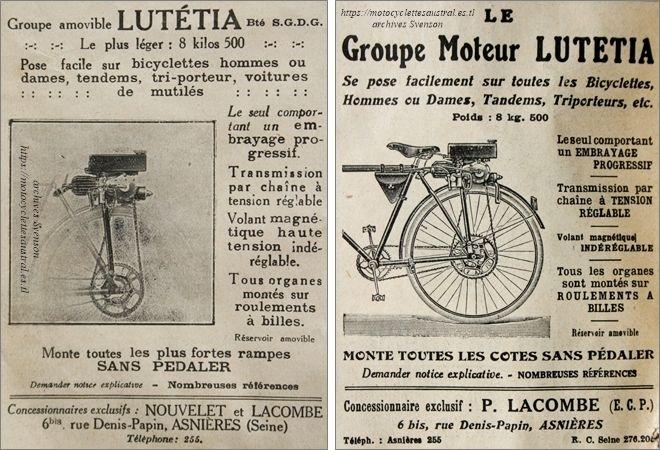 publicité pour le moteur auxiliaire Lutétia, concessionnaire Lacombe, Asnières