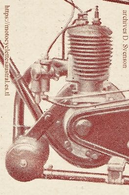 Austral moto légère type Standard, 1926, détail du moteur Austral 175 cm3