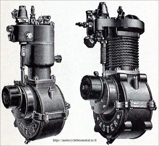 moteurs Aster monocylindre, refroidi à l'eau et à refroidissment mixte