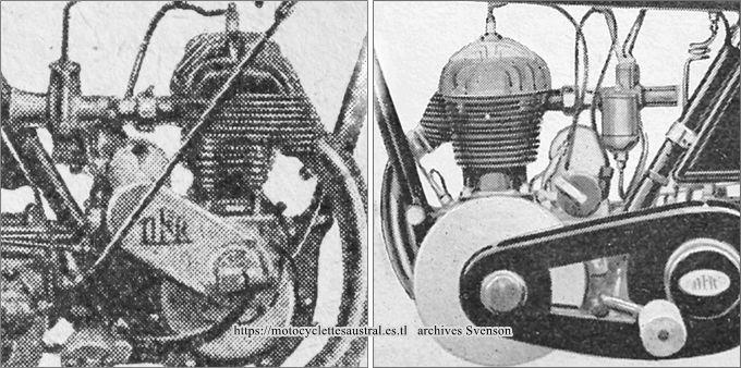 deux vues du moteur Voisin 350 cmc latéral d'après les catalogues