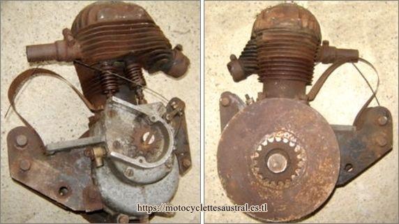 deux photos d'un moteur Voisin 350 cmc latéral.