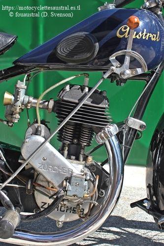 moteur Zürcher 350 cm3, moto Austral type V 1929