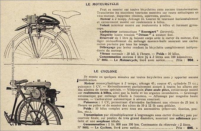 données techniques des moteurs auxiliaires Le Moteurcycle et Le Cyclone