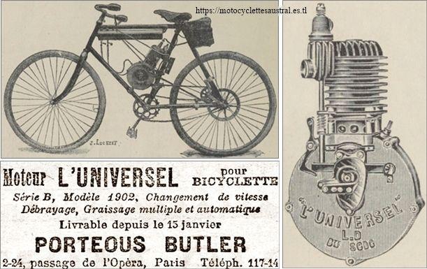 Porteous Butler, la bicyclette à moteur l'Universel, 1902