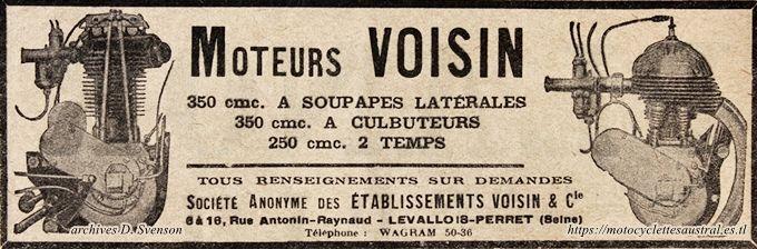 Réclame pour les moteurs Voisin, 1929
