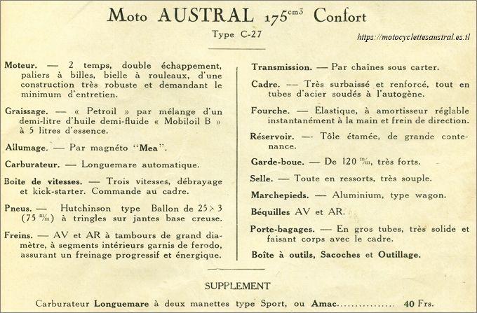 motocyclette Austral modèle C27, catalogue 1928, données techniques