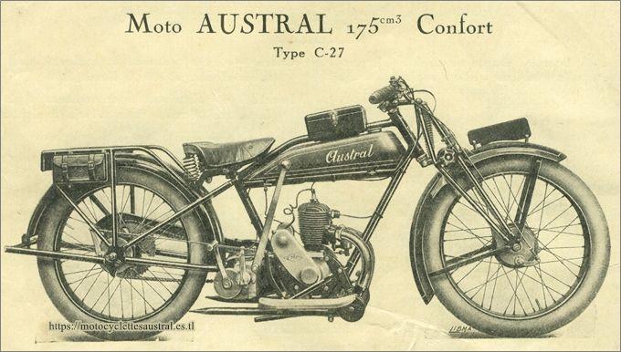 motocyclette Austral modèle C27, catalogue 1928