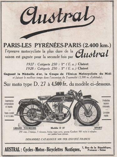 1927 encart publicitaire Austral motos, cycles,bicyclettes nautiques avec photo de la moto du modèle Supersport