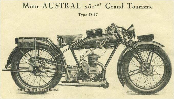 Austral motocyclette type D27, catalogue 1928