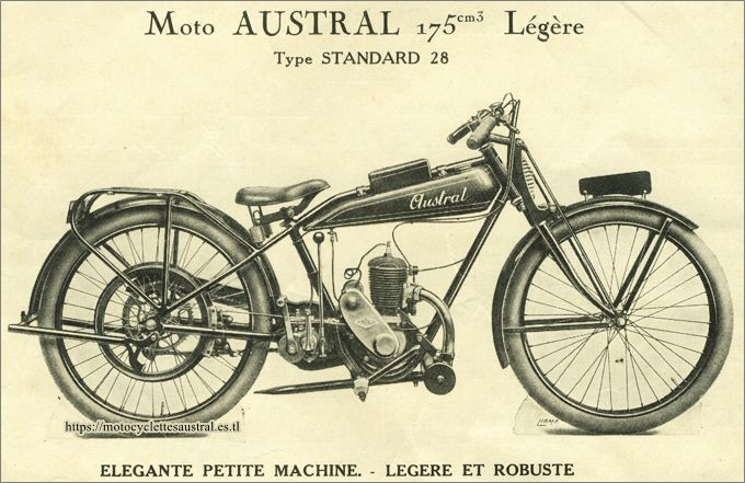 Austral, moto type Standard 1928, catalogue 1928