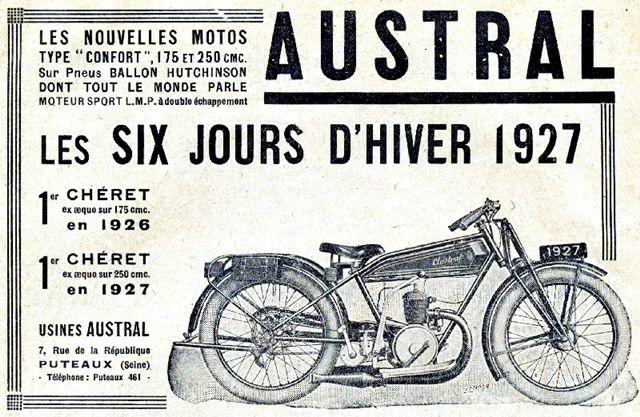 motocyclette Austral type Confort 175 cm3, 250 cm3, 6 jours d'hiver, 1927