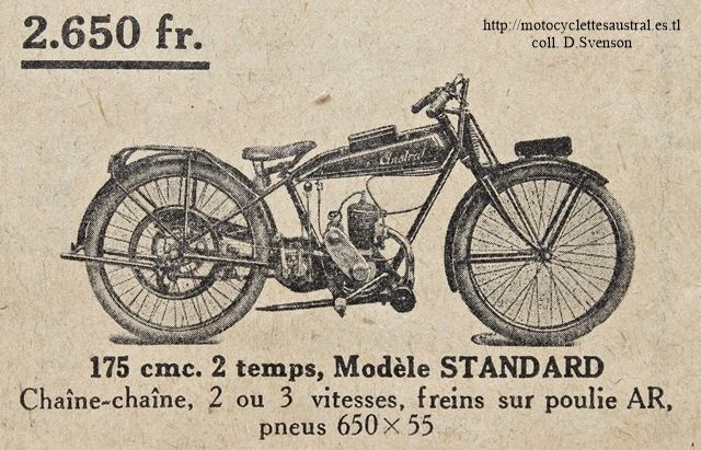 motocyclette Austral type Standard, 1927 et 1928