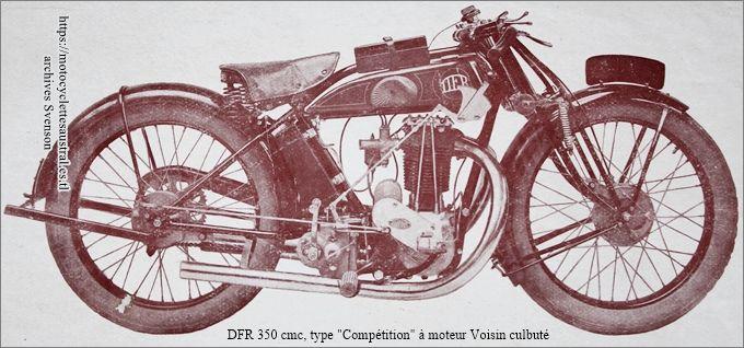motocyclette DFR type Compétition à moteur Voisin 350 cmc culbuté, photographie