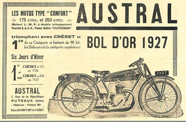 publicité pour la moto Austral Confort, vainqueur Bol d'Or 1927