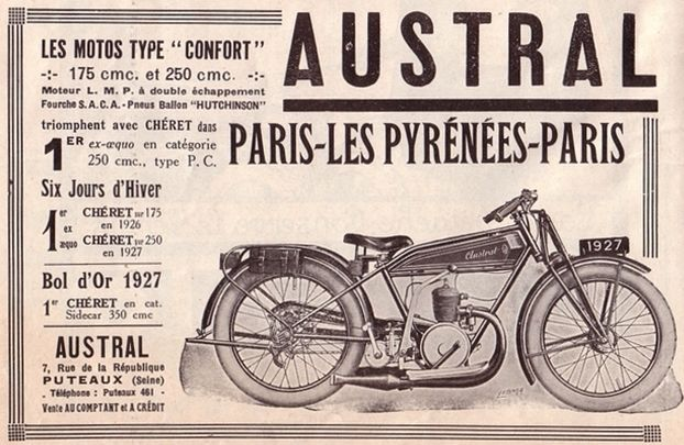 Austral motocyclette type Confort 175 cm3, 250 cm3, Paris-Les Pyrénées-Paris 1927