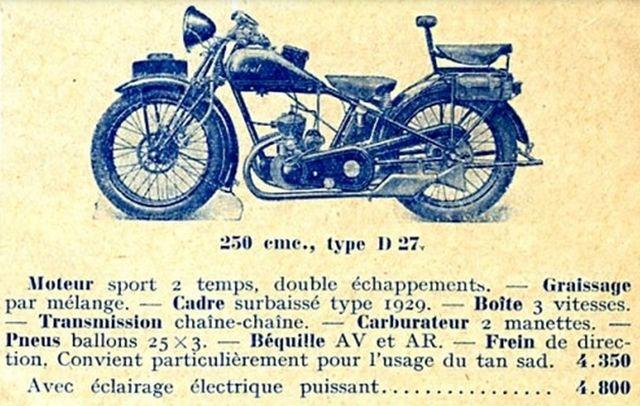 moto Austral type D 27-2 250 cm3, 1929