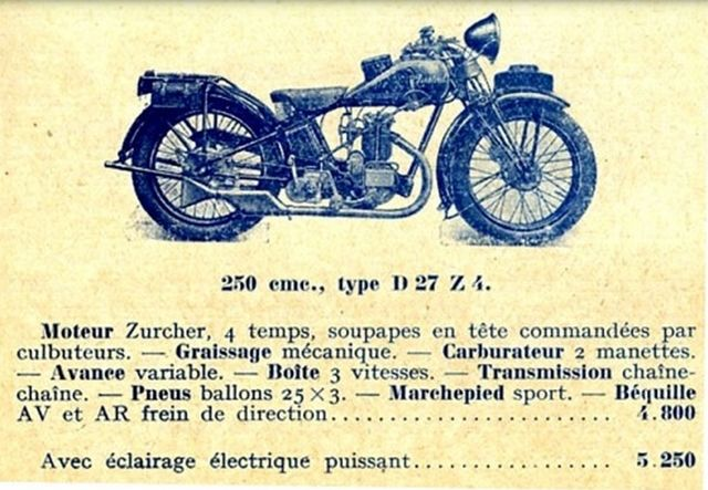 motocyclette Austral type D 27 Z 4 250cm3, 1929