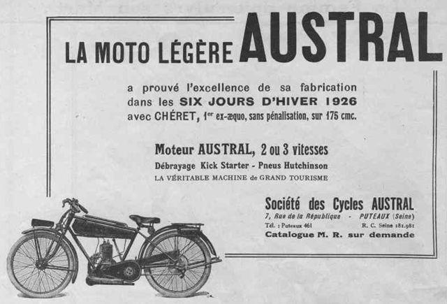 1926 Austral motocyclette légère type GT26, publicité