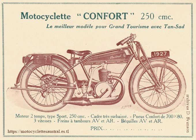 1927 moto Austral du type Confort 250 ccm