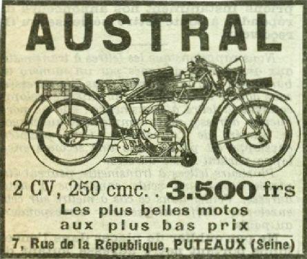 1928 Austral publicité type D27, dessin de la moto