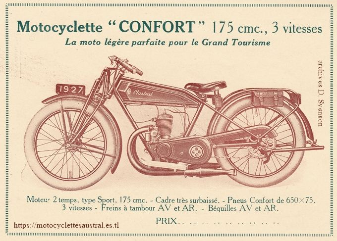 "motocyclette Austral type C27, 1927, en version ""Confort"", muni de pneus ballon"