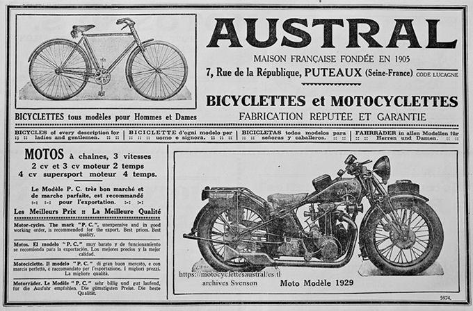 publicité cycles Austral, 1929, en 5 langues