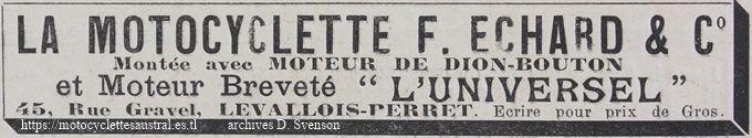 publicité de 1902 pour la motocyclette Échard