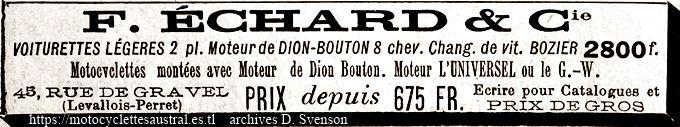 F. Échard, voiturettes et motocyclettes. Publicité 1903