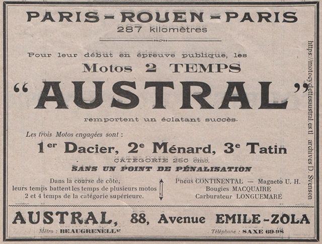 publicité, motos Austral à moteur deux temps, 1914